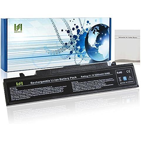 HASESS 6-Celdas Li-ion 5200mAh Batería Portátil de Repuesto para Samsung Q318: AA-PB9NC5B, AA-PB9NC6B AA-PB9NS6B AA-PL9NC2B SAMSUNG: E152 E251 E252 E372 NP-E152 Q230 Q310 Q318 Q320 Q322 Q428 Q430 Q520 Q528 R408 R420 R423 R427 R428 R429 R439 R440 R462 R463 R464 R465 R466 R467 R468 R517 R518 R519 R520 R522 R523 R538 R540 R580 R590 R620 R718 R719 R720 R780 - 12 Meses de