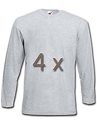 4 Fruit of the Loom T Shirt Longsleeve M L XL XXL Langarm verschiedene Farbsets auswählbar