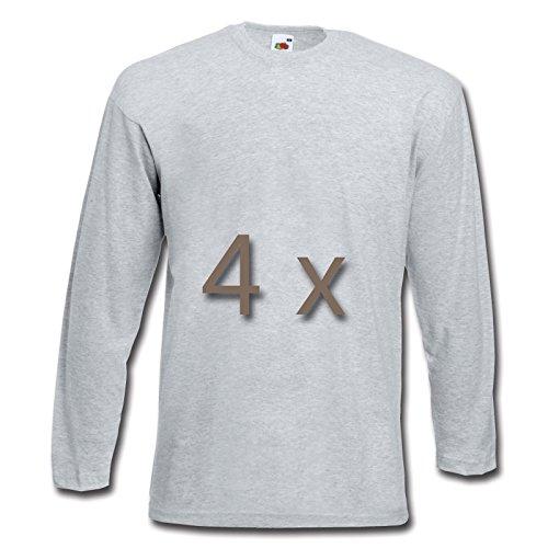 4 Fruit of the Loom T Shirt Longsleeve M L XL XXL Langarm verschiedene Farbsets auswählbar Grau