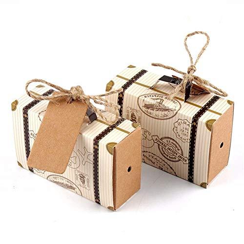KUPOO 50 Stück Süßigkeiten-Geschenkboxen Vintage Kraft mit Jute-Schnur Liebe Herz Imitation Rinde Geschenk Tasche für Hochzeit Party Geburtstag Baby Dusche Dekoration Suitcase Box (Baby-dusche-taschen Und Boxen)