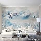 WTD Papel pintado pared papel pintado pared Imágenes claro azul abstracta Delfinen KN de 3152, XL 350cm(B) x 245cm(H) 7-Bahne
