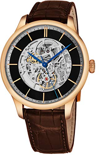 Perrelet Men's 42mm Black Alligator Leather Band Automatic Watch A3043-2