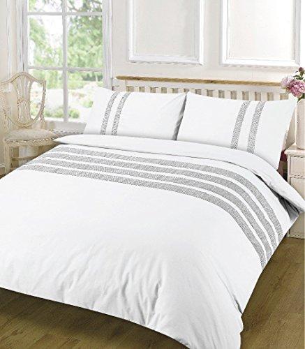 Dia Spitze Detail Bettbezug Set 100% Baumwolle 200tcegyptian Baumwolle rot, schwarz, creme, weiß, grau, Steppdecke, Set Betten (Einzel-, Doppel-, King- und Super King Size), weiß, Super King