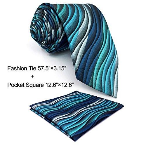 Shlax&Wing Herren Krawatte Ripple Blau MulticoloRot Seide Grün Lang 57.5