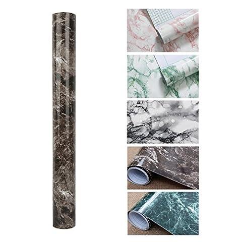 KINLO 5*0.61M Papier Peint Marbre Adhésif Marron en PVC Sticker Meuble Imperméable Sticker Cuisine Autocollant pour Armoire Porte Placard Cuisine Carreaux Salle de Bain