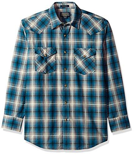 Pendleton Men's Long Sleeve Button Front Classic-Fit Frontier Shirt, Teal Grey Plaid, XL (Fit Classic Sport Plaid Shirt)