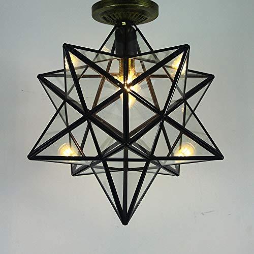 Xungzl Deckenleuchte, Pentagram Deckenlampe transparentes Glas Korridor Balkon Veranda Lampen Persönlichkeit Sterne einfache europäische Wohnzimmer Lampen, für Flur, Bar, Küche, Esszimmer -