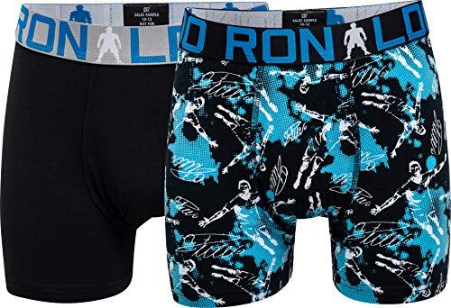 CR7 Cristiano Ronaldo - Boys - Retroshorts/Boxershorts für Jungen - 2-Pack - All-Over-Print - Schwarz/Blau - Grösse 146/152 (10-12 Jahre) (CR7-8400-51-AOP-533-146/152)