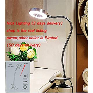 6W LED USB Clip on Reading Light for Books, Bedroom, Desk Lamp (Silver) with Clamp, Eye Protection. Book Light for Reading in Bed, Kindle, Kids. Warm & Cool Light Colour(Adapter Isn't Included)