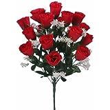 18 LED a fiore artificiale rossi, ideali per matrimoni o funerali