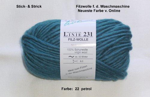 50 gr. Filzwolle für die Waschmaschine, Online, Neu, Fb. 022 petrol -