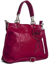 Big Handbag Sac à main pour femme tendance Fleur et feuilles Taille M