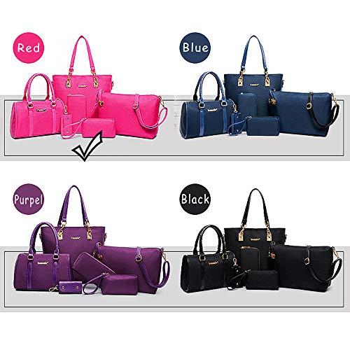 Designer Handtasche Nylon (KAIDILA Handtaschen für Frauen zu patentieren, Elegante Litschi Muster Nylon Material Damen Schultertasche Tasche 6 Stück Casual Mode & Arbeit, Lila, Blau, Schwarz und Rot)