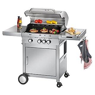 Profi Cook PC-GG 1058 Gasgrill, 3 Edelstahlbrenner + 1 zusätzliche Kochstelle, 3 Heizzonen für individ. Temperatursteuerung, stufenlose Temperatureinstellung, herausnehmbarer Fettauffangbehälter, Temperaturanzeige, Edelstahlfront und -haube, Silber (B00H4Q2BX2) | Amazon Products