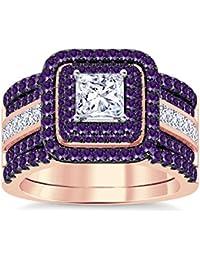 Silvernshine Enhancer Ring Guard & Engagement Ring Set Rose Gold Plated Amethyst Sim Diamonds