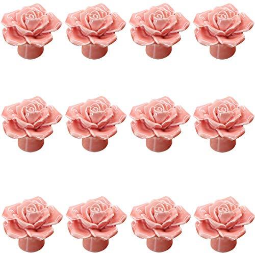 Rosa 12PCS Keramik-Rosen-Blumen-Knopf Porzellan Rose Möbelknopf Möbelknöpfe Griff Knopf Dekoraktion Schrankgriff Türgriffe Möbelgriffe Möbelknauf von Creatwls (Rose Möbelknöpfe)