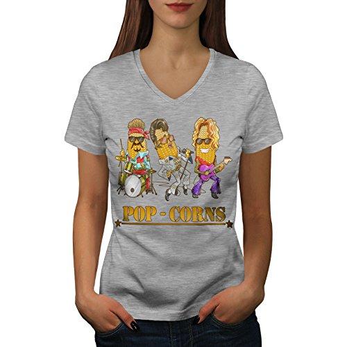 wellcoda Pop Mais Idols Frau L V-Ausschnitt T-Shirt