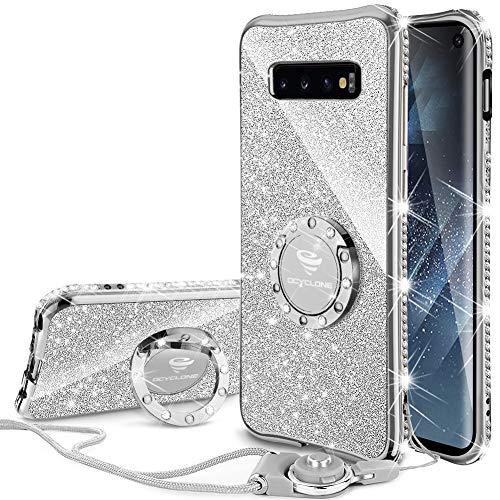 OCYCLONE Galaxy S10 Hülle, Glitzer Diamant Handyhülle mit Trageband und 360 Grad Ständer Schutzhülle für Galaxy S10 Handy Hülle für Mädchen Frauen, [6.1 Zoll] Silber