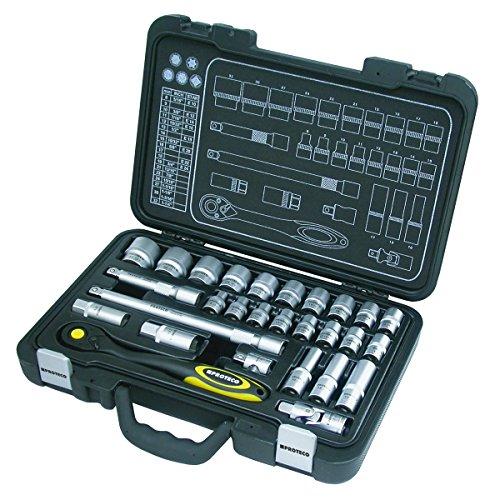 Proteco-Werkzeug® Profi-Steckschlüsselsatz Steckschlüsselkasten 1 2 Zoll 28 Teile Ratschenkasten Knarrenkasten