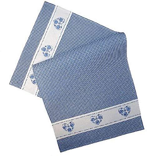 Tischläufer - blau-weiß kariert Stickerei