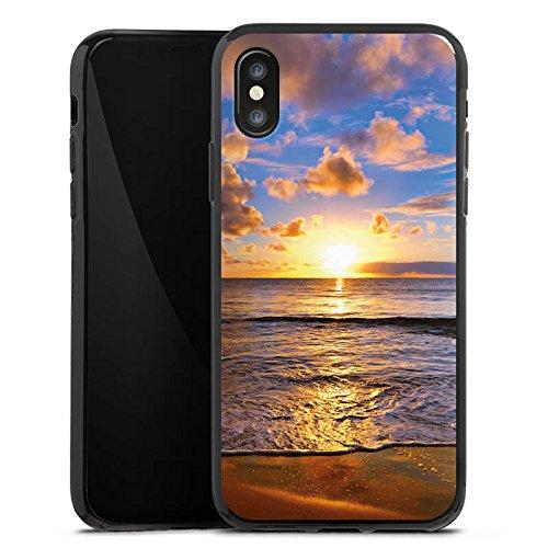 Apple iPhone X Silikon Hülle Case Schutzhülle Sonnenuntergang Meer Wolken Silikon Case schwarz