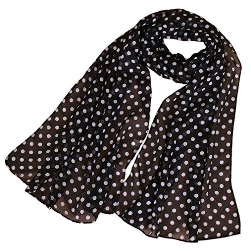 KAVINGKALY Bufandas de lunares de las mujeres de impresión bufanda de seda de gasa bufanda...
