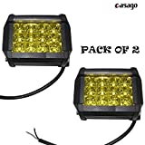 #7: Casago 12 LED Fog Light with Flood and Spot Combo Beam Waterproof Heavy Duty Pod Driving CREE LED Work Light for Motorcycle Jeep Off Road Cars Truck Boat (36W, Yellow, Pack of 2)