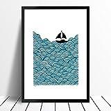 """""""Bigger Boat"""" Serigrafia stampa in blu petrolio (formato A3)"""