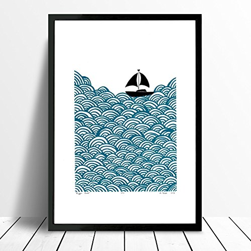 Ms-grande-del-barco-estampado-en-serigrafia-en-Azul-Petrleo-tamao-A3