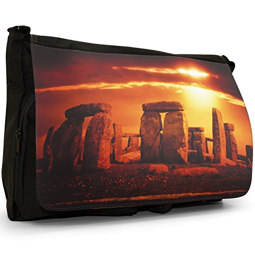 Fancy A Bag Borsa Messenger nero Cow Sunset Over Stonehenge In Wiltshire England