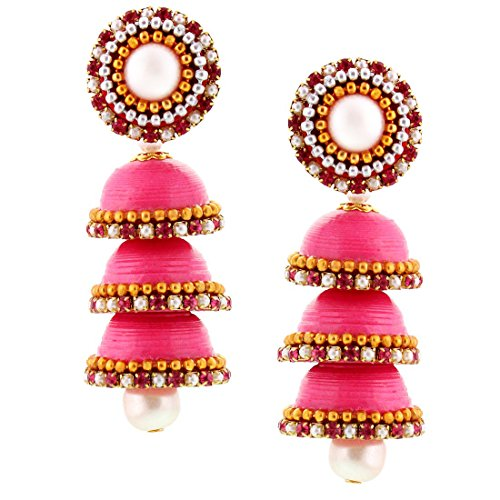 Halowishes Hancrafted Paper Quilling Pink Triple Jhumka - 238  available at amazon for Rs.309