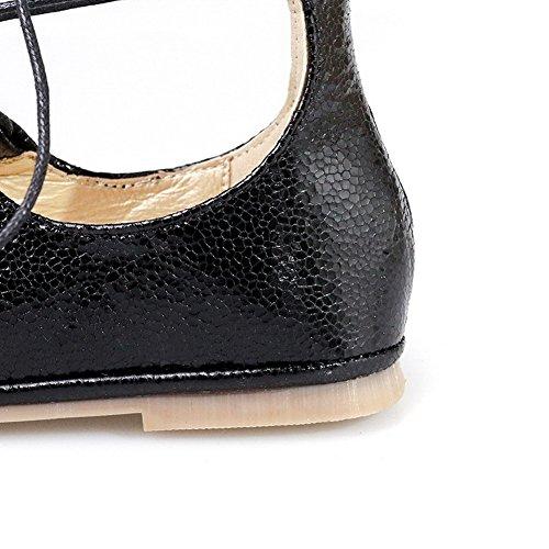 VogueZone009 Donna Allacciare Senza Tacco Tessuto Lucido Puro Punta Tonda Punta Chiusa Ballerine Nero