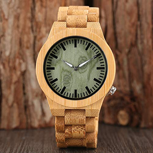 FANSWD Hölzerne Uhr Total Bamboo Uhren Man Sport Handmade Armreif Handgelenk Quarzuhr Herren Hour Natur Holzarmband Faltschließe