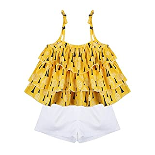 Weixinbuy Baby Girl Floral Ruffled Vest Tops T-Shirts 2 Pcs Shorts Clothing Sets - Yellow -