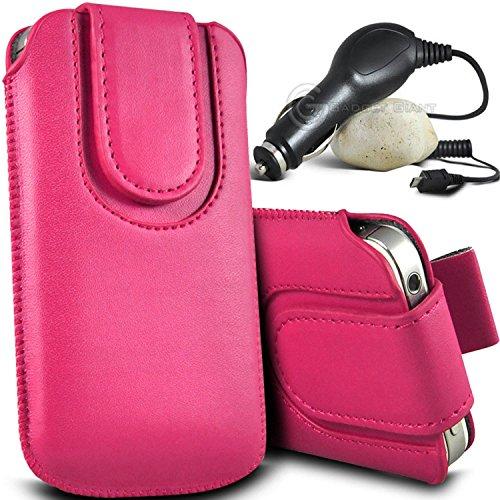 Brun/Brown - Samsung Galaxy S4 mini plus I9195I Housse et étui de protection en cuir PU de qualité supérieure à cordon avec fermeture par bouton magnétique et stylet tactile pour par Gadget Giant® Rose/Pink & Car Charger