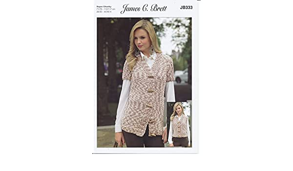 6d34da1805533 James C Brett JB333 Knitting Pattern Ladies Waistcoats to knit in Flutterby  Animal Prints Super Chunky by James C Brett  Amazon.co.uk  Kitchen   Home