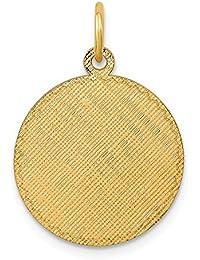 Diamond2deal - Colgante de Disco grabable Circular de Calibre 013 de Oro Amarillo de 14 Quilates
