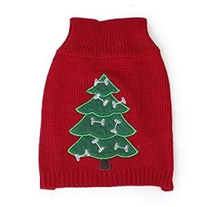 Pull-over Chandail en Tricot Motif d'Arbre de Noël Vêtement Costume de Noël pour Chien - XS