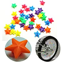 Spoke Clip Stars Set of 36, Assorted Colours, 36x Spoke Clips Clicker (Set of 3) by Land-Haus-Shop