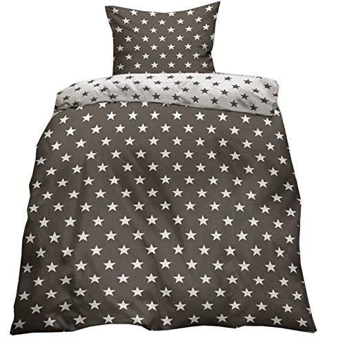 JEMIDI Bettwäsche Bettbezug Bettbezüge Bettgarnitur 135cm x 200cm Bettdecke Kopfkissen 2 teilig Bett Wäsche Singlebett Bezüge Mädchen Jungen Bezüge Bezug (Sterne Anthrazit)