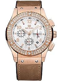 Megir Mujer con cuarzo relojes de piel luxury Diamond–Cronógrafo Esqueleto Dial de manos 24horas reloj de pulsera con calendario para mujer