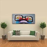 IPLST@ Pittura moderna arte della tela Funky della rana del fumetto olio animale da dipinto a mano grande parete della decorazione di arte-20x40inch(Nessuna cornice, senza barella) - Cuore Canvas Tote
