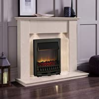 Cream Marble Stone Surround Electric Fireplace Suite Black Electric Fire Moving Flame Effect Coals & Downlights