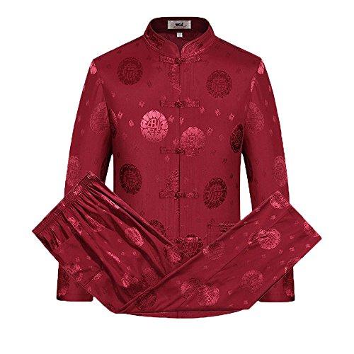 Tang Traje Hombres Tradicional Chino Ropa Trajes Hanfu Algodón Camisa de Manga Larga Abrigo De los Hombres Tops y Pantalones