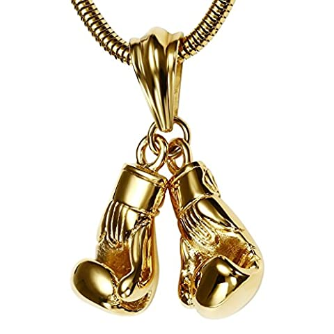 Gnzoe Hommes Acier inoxydable Boxing Gloves Or Mode Pendentif Collier 1.5x2.4CM