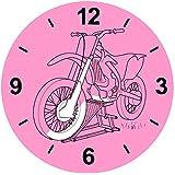 Cristal Reloj Moto de dibujo de Negro de motos de velocidad de deportes de motor