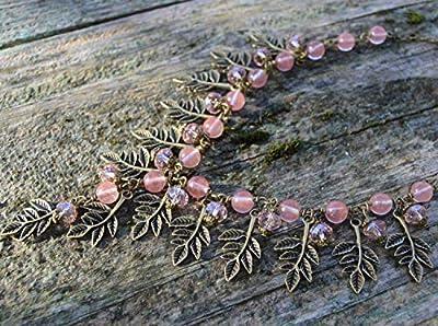 Collier Quartz Rose avec feuilles bronze et petits cristaux - bijoux pierre naturel - pendentif cristal rose féerique - elfique Bohême
