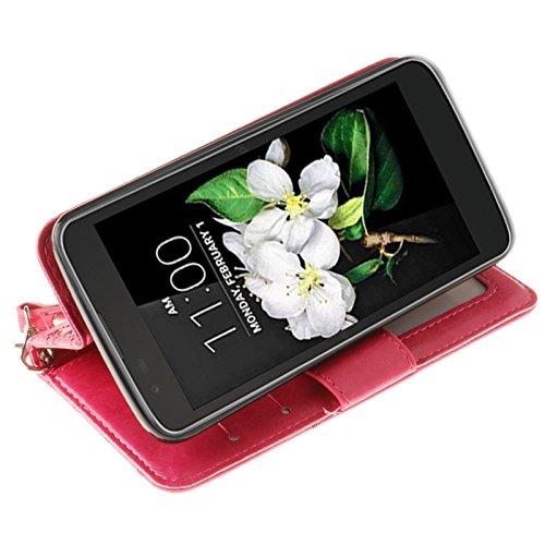 YHUISEN Geprägte Maple Leaf Design PU-Leder Flip Wallet Stand Case mit Kartensteckplatz für LG K7 ( Color : Rose ) Rose