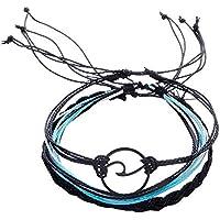 Pulseras, Winkey 3 pulseras de tobilleras de plata para mujer, cuerda de playa,