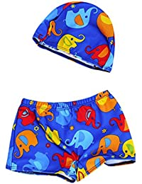 Ourhomer 2Pcs Toddler Baby Boys Swim Trunks Kids Summer Quick Dry Swimwear Swimming Pants Stretch Shorts+Hat Set (4T, Dark Blue)